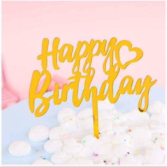 Hình cắm mica trang trí bánh sinh nhật tráng gương 2 mặt, topper cắm bánh bằng mica, topper cake