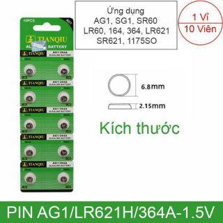 1 Vỉ 10 Viên Pin AG1 LR621H 364A SG1 SR60 LR60 621 Cho Đồng Hồ Đeo Tay