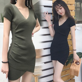 2018 mùa hè mới của Hàn Quốc thời trang nữ tính khí Slim sexy v-cổ chéo hip khôn