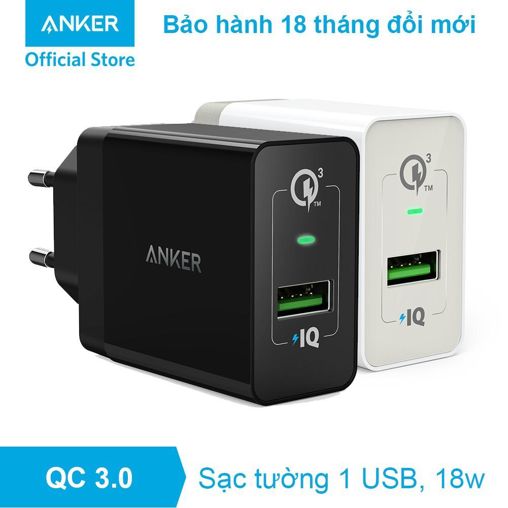 Củ sạc nhanh IPhone 18W Quick Charge 3.0 PowerIQ - PowerPort+ 1 - Chính hãng Anker A2013, Nobox, New 100%