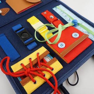 ❀INN Baby Busy Board Montessori Develop Basic Skills Board 14 in 1 Learn to Dress Toy