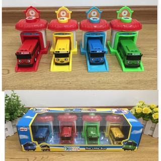 Đô chơi Xe ô tô buýt Tayo the little Bus loại 2 gồm 4 nhà đẩy và xe