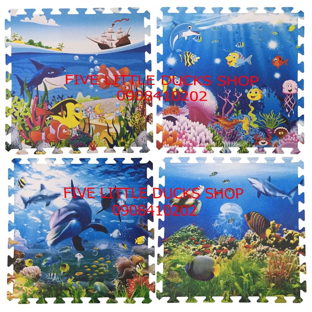 Bộ 4 tấm Thảm xốp lót sàn an toàn hình sinh vật dưới biển (60x60cm)