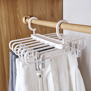 Home-home retractable folding trouser hanger pants clip household seamless strong hanging pants storage artifact JK skirt clip hanger