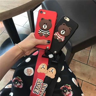 OPPO R9s R9sPlus 3D Cartoon Bear Silicone Soft Back Cover With Lanyard