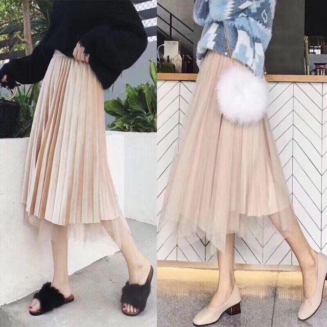 Chân váy dáng dài hai mặt