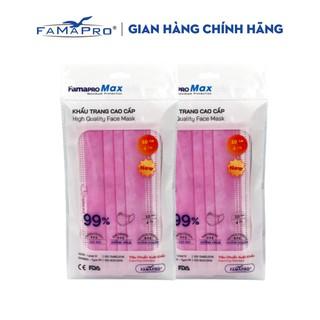 Combo 2 túi khẩu trang y tế cao cấp kháng khuẩn 4 lớp Famapro max màu hồng (10 cái túi) thumbnail