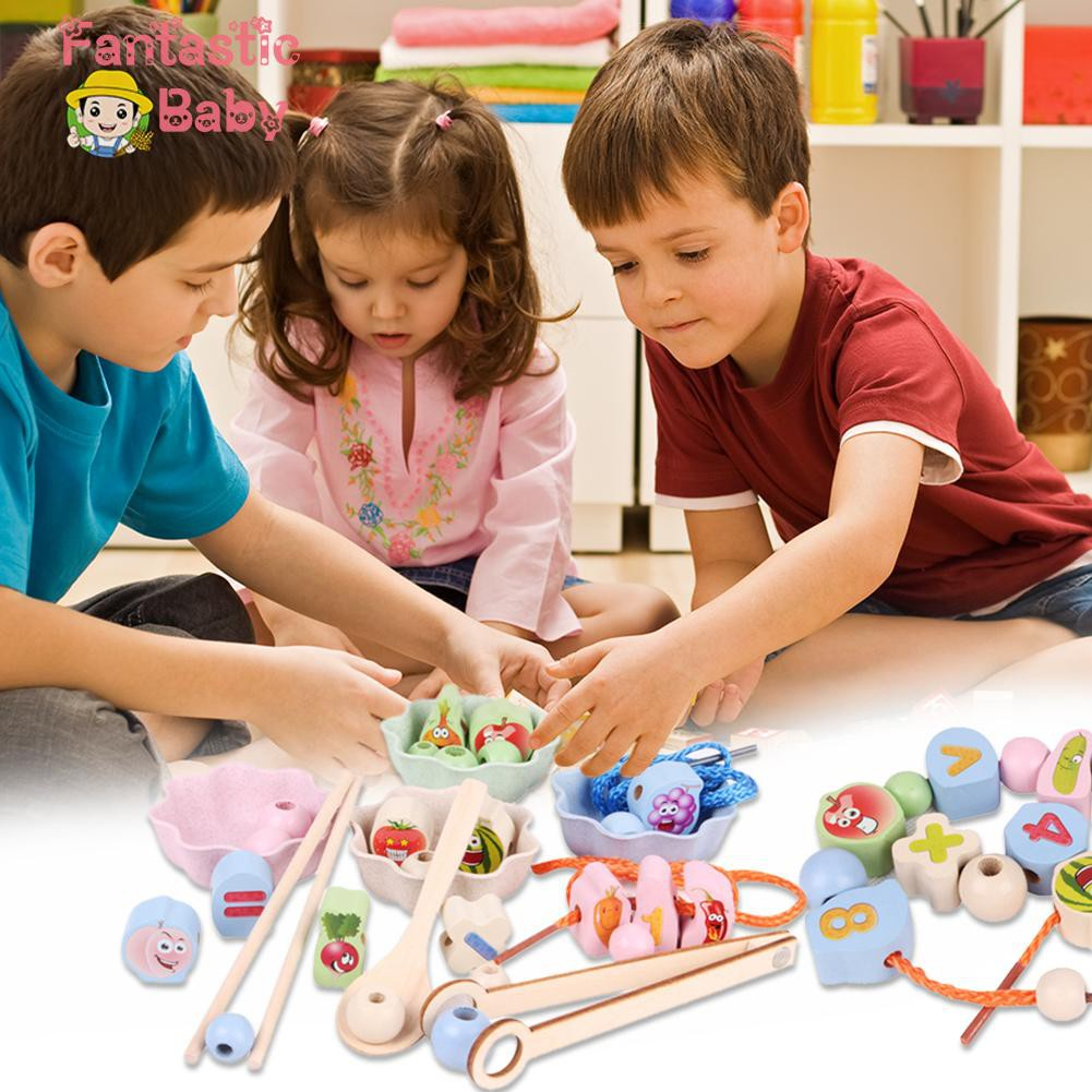♥Fbaby♥Kids Wooden Puzzle Beads Game Training Concentration Early Education Toys
