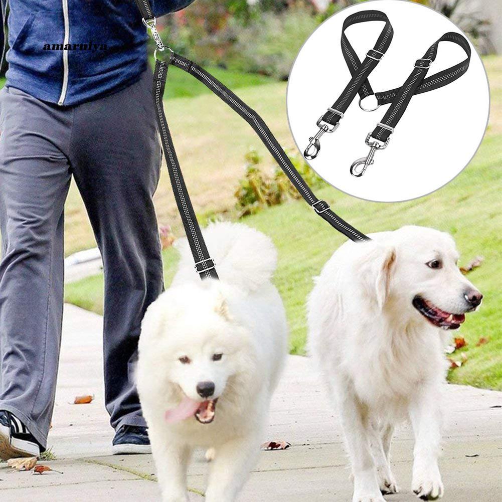 AMA♥Double Dog Leash Splitter Reflective Stitches Adjustable Walking Strap Harness