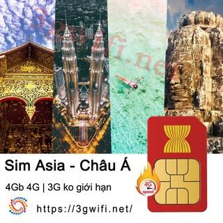 [Mã ELMSHX hoàn 8% xu đơn 500K] [Freeship toàn quốc từ 50k] Sim Châu Á 3G/4G, Sim Du Lịch Châu Á Tốc Độ Cao