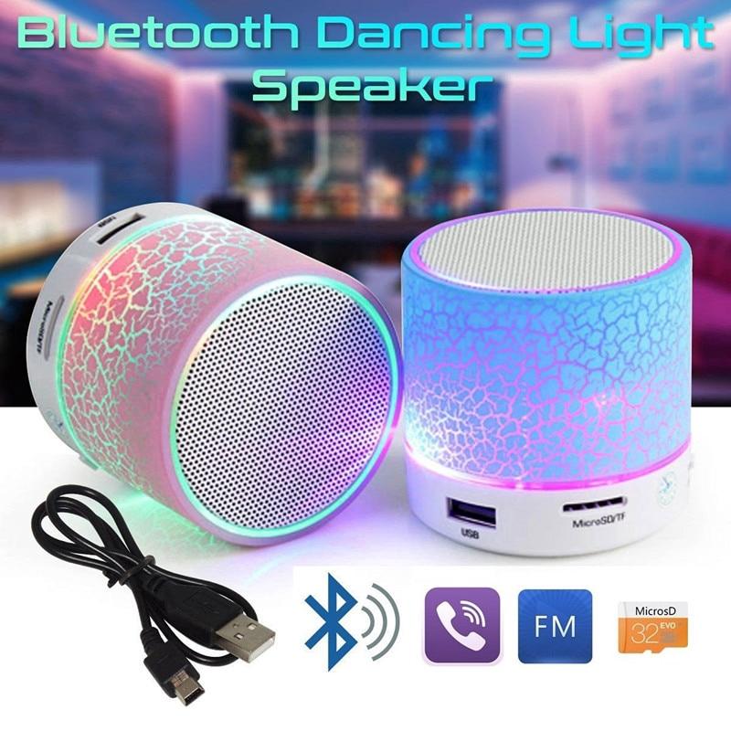 Loa phát nhạc mini không dây bluetooth có cổng USB FM đèn LED tiện dụng