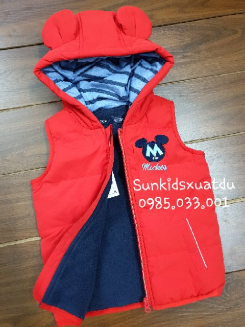Áo phao gile đỏ Mickey