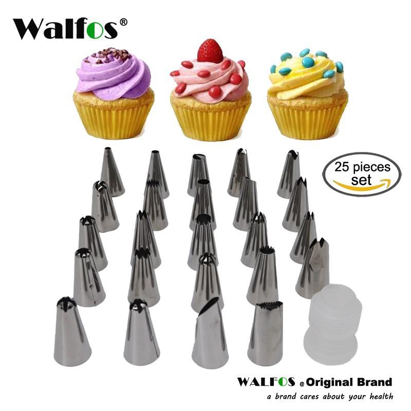 Bộ 25 Đui Bắt Bông Kem Walfos Trang Trí Bánh Kem Bằng Thép Không Gỉ