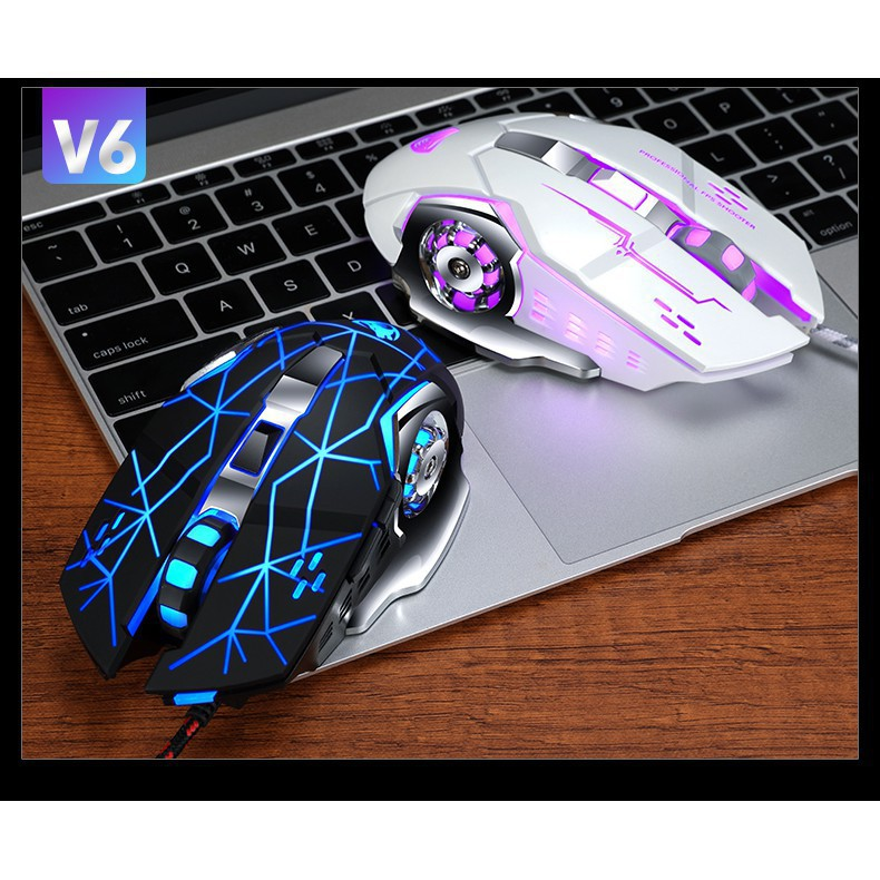 Chuột Chơi Game V6 Đèn LED 7 Màu Cực Bền Thiết Kế Đẹp <RẺ VÔ ĐỊCH>