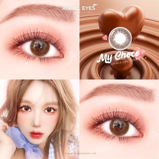 [TẶNG KÈM QUÀ] Lens nâu tự nhiên MY CHOCO - Lens mắt nâu Angel Eyes chất liệu Silicone đường kính 13.5mm - Độ cận 0-8