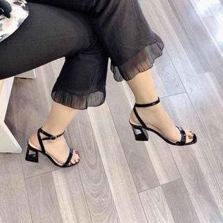 FREESHIP 50k Sandal nữ cao gót 7p - sandal quai ngang gót lỗ cực thời trang