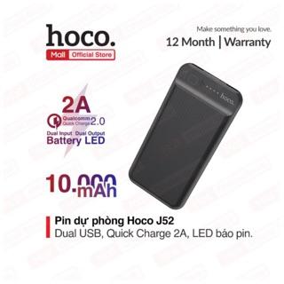 Pin sạc dự phòng Hoco J52 2 cổng ra USB dung lượng 10000mAh có đèn LED hiện thị pin