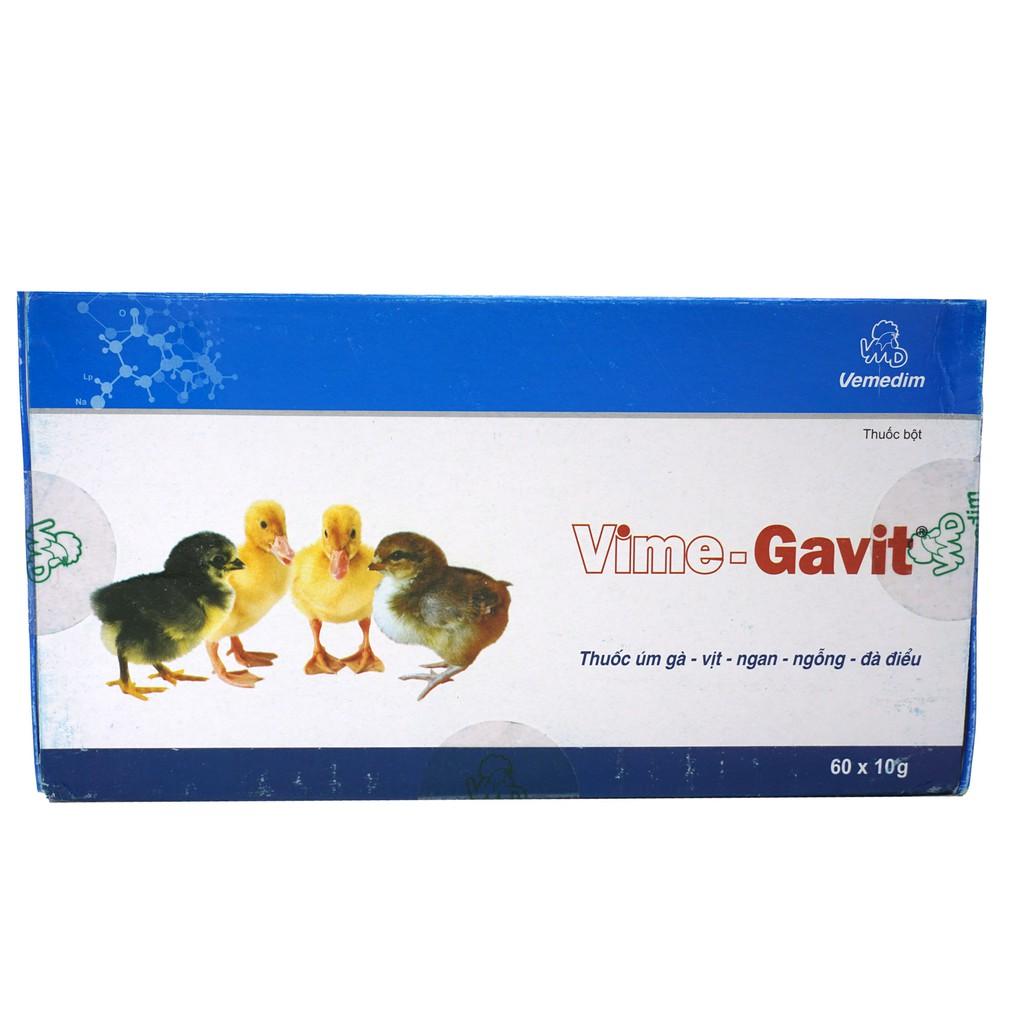 Vime-Gavit Dùng cho úm gà, vịt, ngan, ngỗng, đà điểu (hộp 60 gói) - Chỉ dùng trong thú y