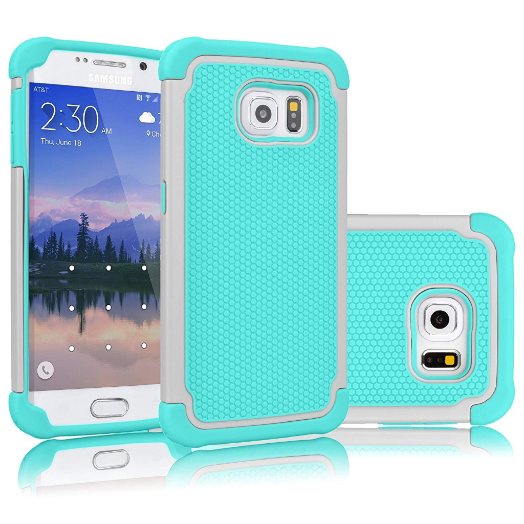 Samsung Galaxy S6 Case, Shock Absorb Hybrid Rubber Plastic Slim Hard Case Cover