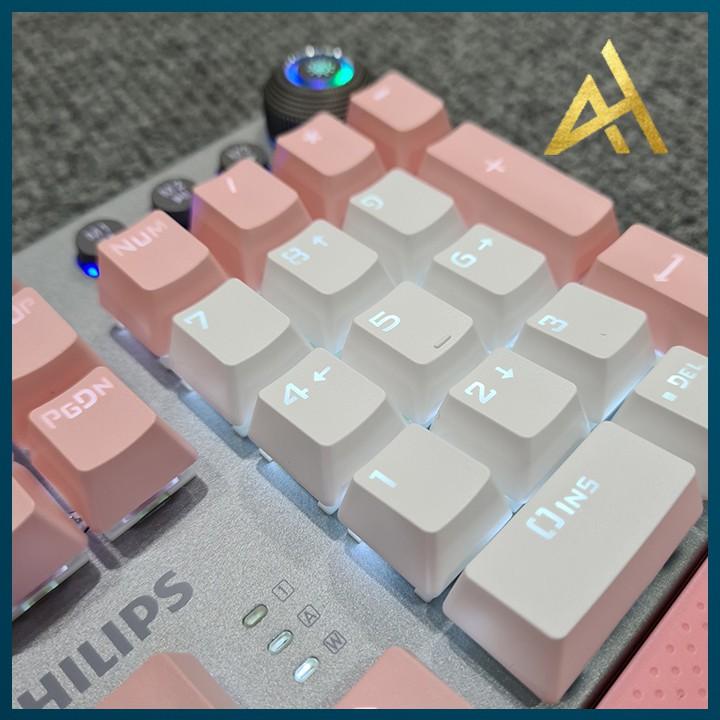 Bàn Phím Máy Vi Tính Laptop Chơi Game PHILIPS SPK 8614DQ Đèn LED RGB Có Kê Tay - Bàn phím Cơ Keyboard Gaming Có Dây