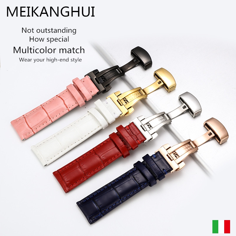 Dây đeo đồng hồ 18 20 22mm có 4 màu với khóa bướm kèm công cụ cài đặt