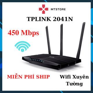 [BH 6 Tháng] Bộ Phát Wifi 3 râu TPlink WR2041N Xuyên Tường chuẩn 450 Mbps + Tặng 2m dây mạng bấm sẵn