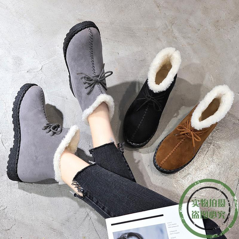 ❤️outdoor snow boots female 2018 new winter tide short tube