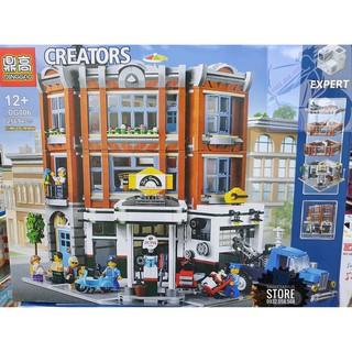 Lego Dinggao-DG006 Lắp Ráp Garage – Cửa Hàng Sửa Xe Góc Phố ( 2569 Mảnh ) – Hàng có sẵn- Hàng có sẵn