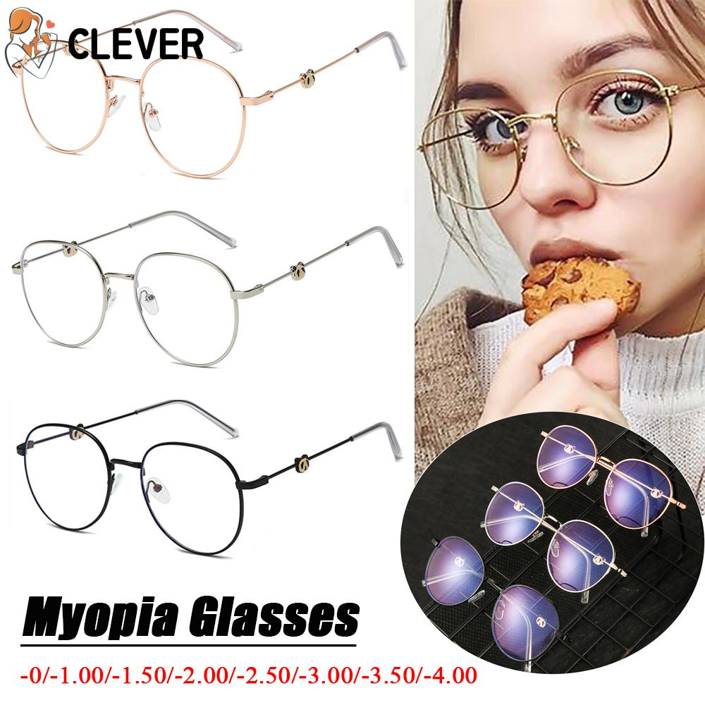 CLEVER Reduces Eye Strain Unisex High-definition Metal Round Frame Ultralight Myopia Glasses
