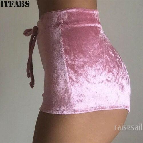 Quần short vải nhung dây rút eo cao cho nữ