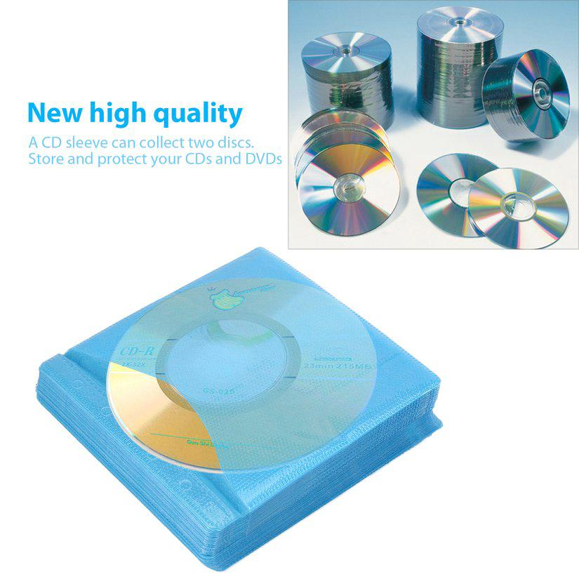 100Pcs Cd Dvd Double Sided Cover Storage Case Pp Bag