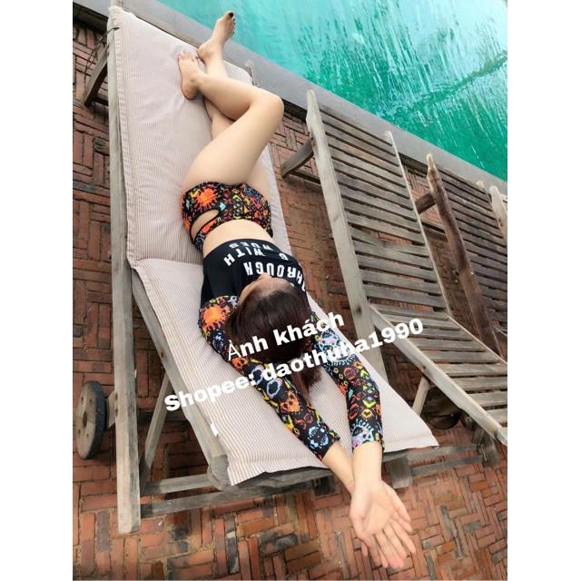 bikini, đồ bơi dài tay phong cách Hàn quốc tay hoạ tiết hoa