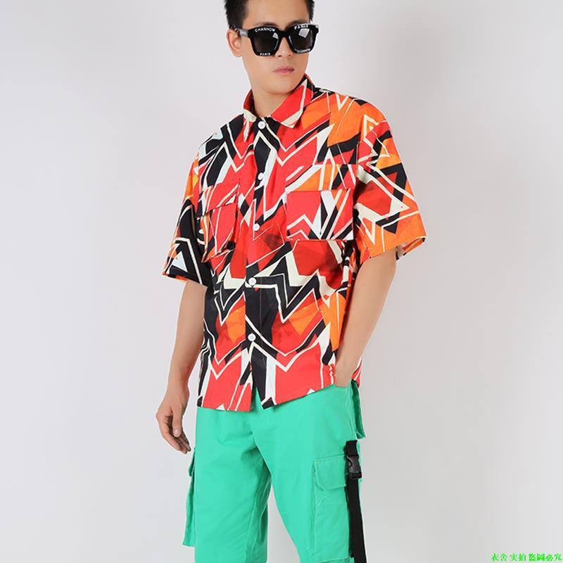ฮิปโปพายุบทคัดย่อเรขาคณิตเสื้อเย็นฮิปฮอปเสื้อหลวมฤดูร้อน
