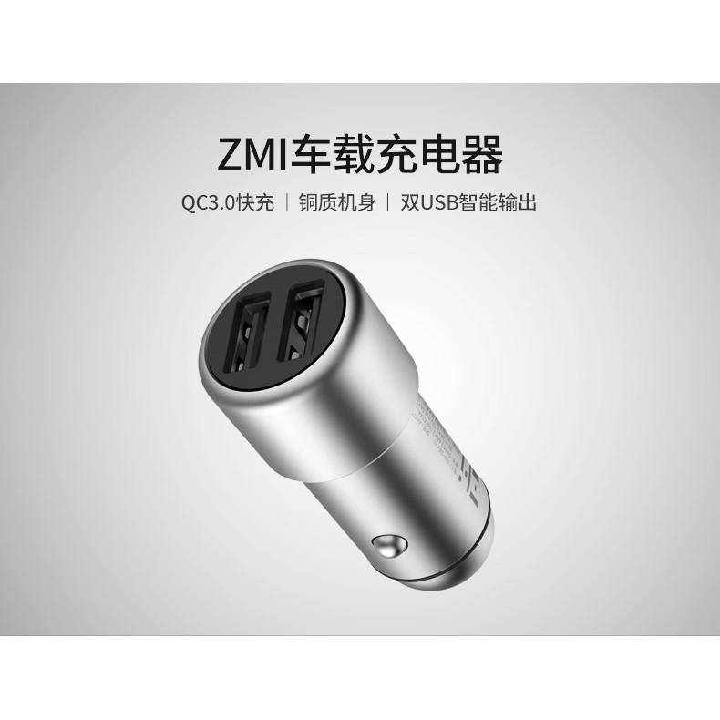 Củ sạc nhanh Cao cấp Xiaomi-ZMI QC3.0 (2 cổng) dùng trên oto