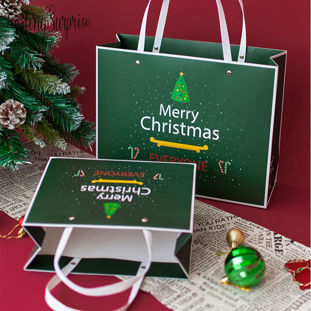 2 pieces of green Christmas paper gift bag with handle paper bag food tea bag party baby gift wedding supplies packaging