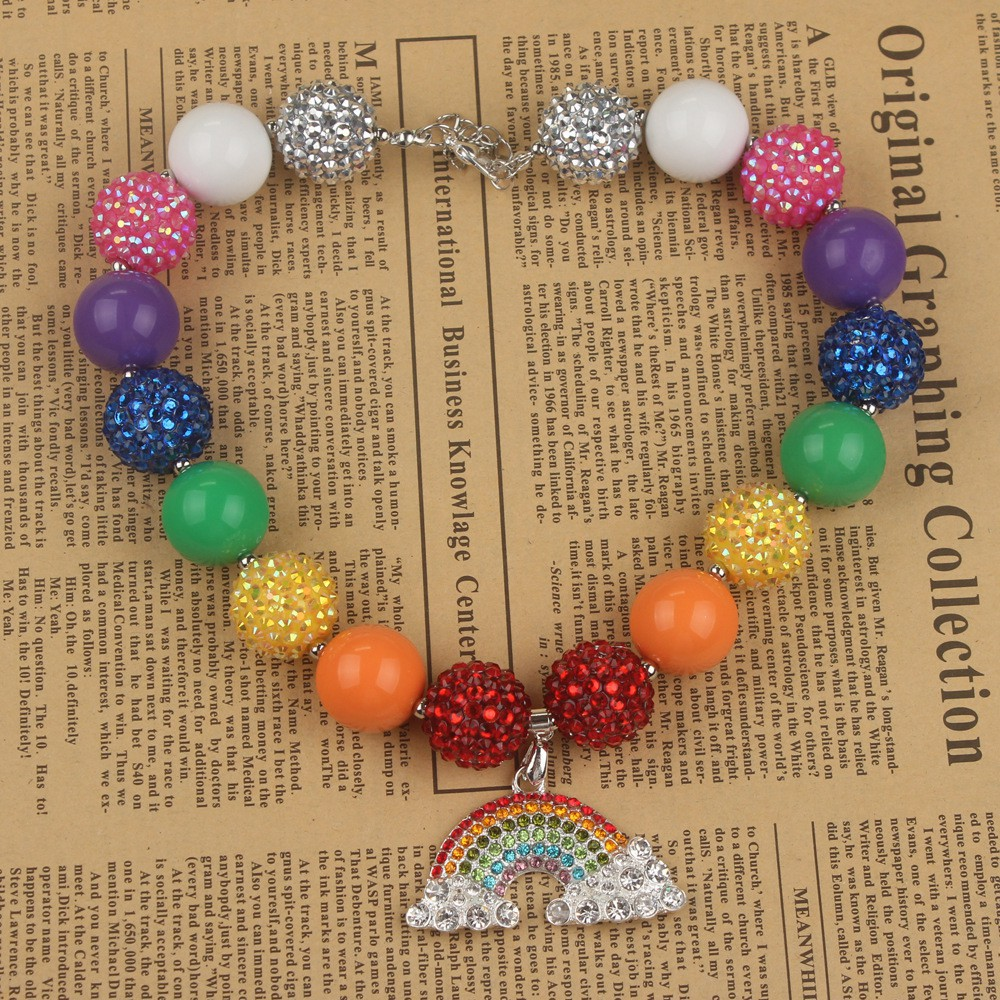 Point Drill Alloy Rainbow Pendant Children Candy Bead Necklace Primary School Je