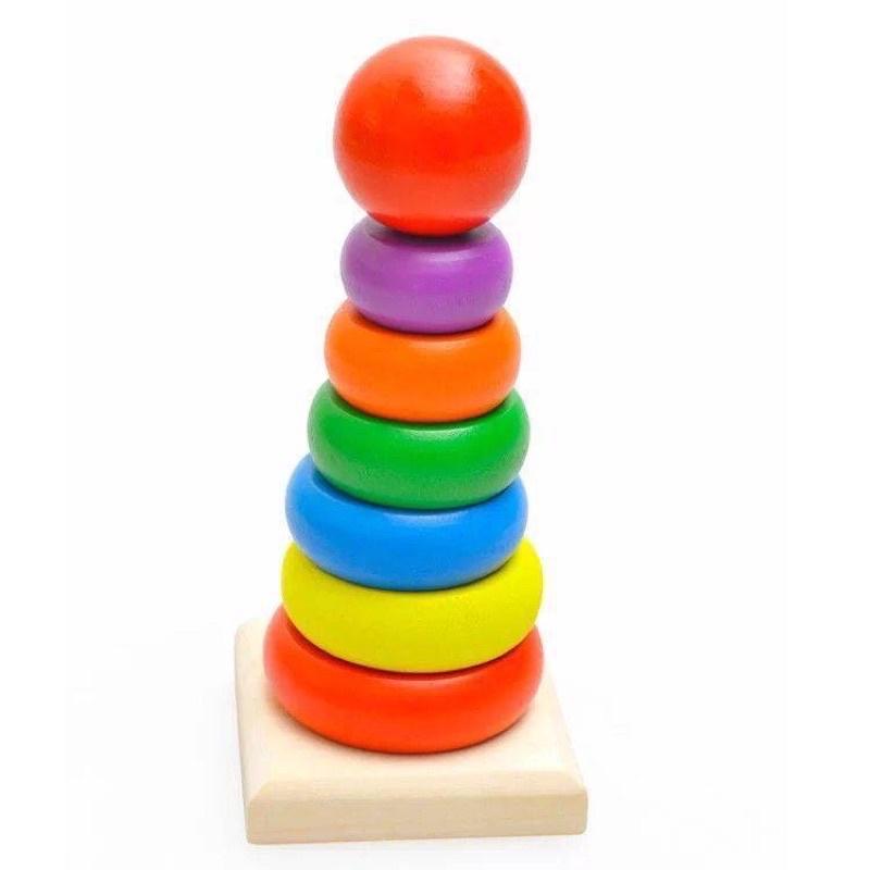 Đồ chơi tháp cầu vòng gỗ cho bé_đồ chơi cho bé