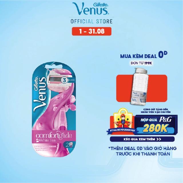 Bộ dao cạo và 2 đầu dao Gillette Venus Comfortglide White Tea