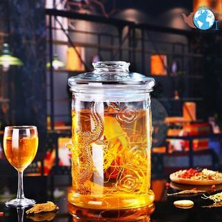 Bình Ngâm Rượu Thủy Tinh 6 Lít Không Van Dáng Trụ Hoa Văn Rồng