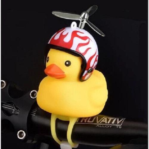 vịt gắn xe đội mũ bảo hiểm có đèn, quạt