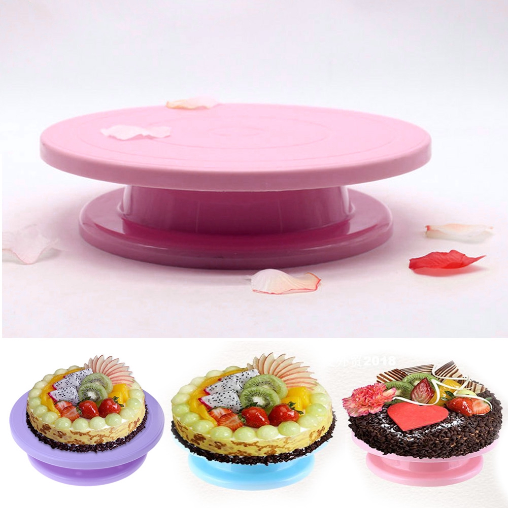 Rotating Plastic Cake Plate DIY Pan Turntable Durable Anti-skid Environmental Practical Round Baking Tool