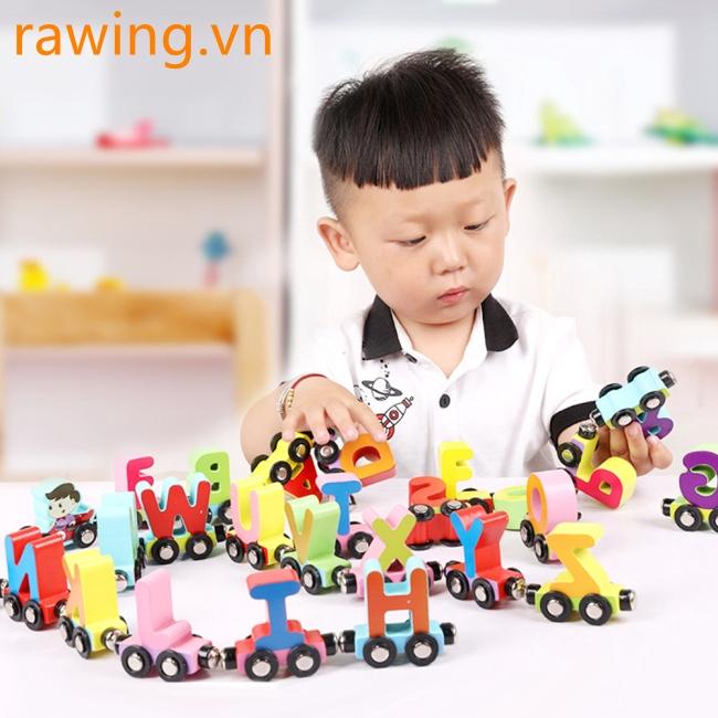 27 Pcs/Set Magnetic Train Cars Alphabets/Digital Toy Set Toy Train Set for Kids Toddler Boys Girls