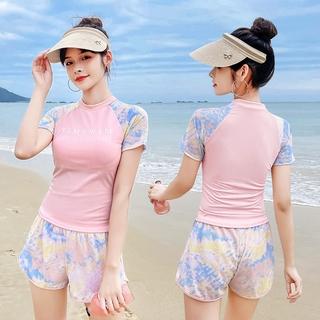 Hawaiian Sports Series Sweet Sunshine Girl Surfing Short Sleeve Sun Protection Elastic Two-Piece Swimsuit thumbnail