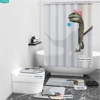 Letter🌟 Tấm vải treo phòng tắm kèm móc|Rèm phòng tắm chống thấm nước in hình khủng long hoạt hình vui nhộn