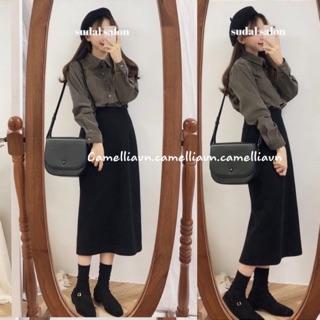 chân váy lưng cao suông dáng dài tiểu thư MORAN Hàn Quốc sang trọng 2 lớp