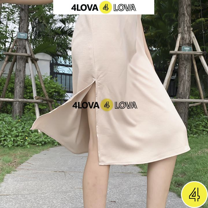 Váy đầm suông basic 2 dây 4LOVA chất liệu đũi lụa xẻ tà quyến rũ