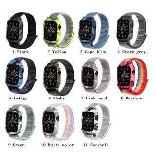 【Dây đeo + Vỏ】 Dây đeo Apple Watch Ngụy trang 38/40mm 42/44mm Vòng nylon dệt mềm mại thoáng khí với Vỏ silicon cho iWatch Series SE 6/5/4/3/2/1