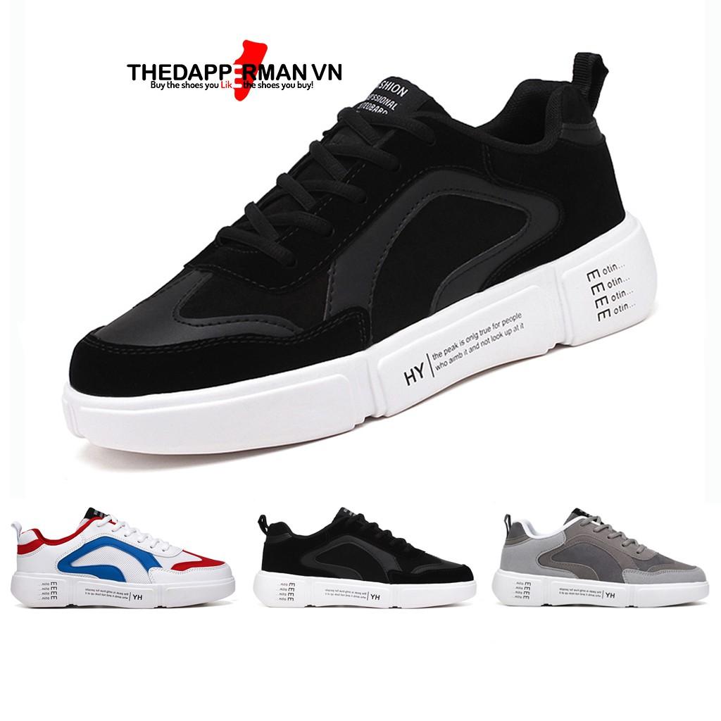 Giày thể thao sneaker nam THEDAPPERMAN WD887 chất liệu da lộn, đế cao su nhiệt dẻo, êm chân, chống trơn trượt, màu đen