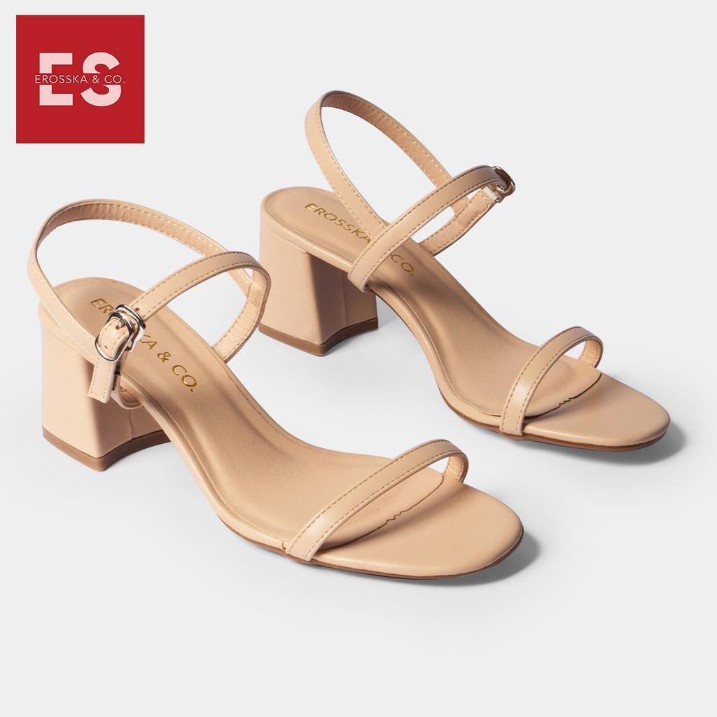 Giày sandal cao gót Erosska thời trang mũi hở quai mảnh phối dây tinh tế cao 5cm màu nude _ EM019