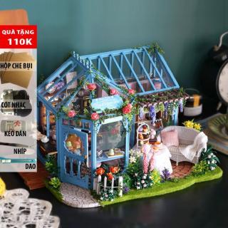 Đồ trang trí Mô hình nhà lắp ghép có đèn Garden Tea House CUTEA068 DochoiHCM
